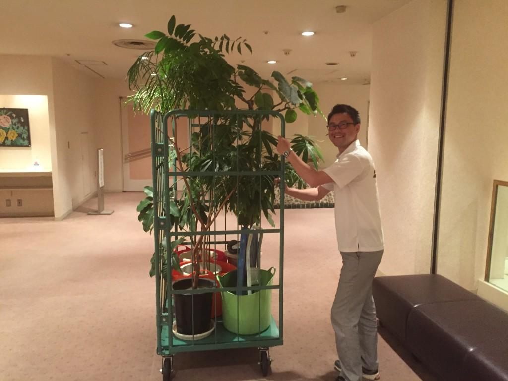 岡山ロイヤルホテル様 観葉植物搬出